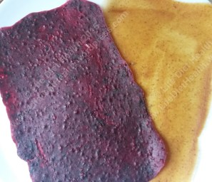 Fruit puree after dehydrating. Nice and dry and ready for cutting.