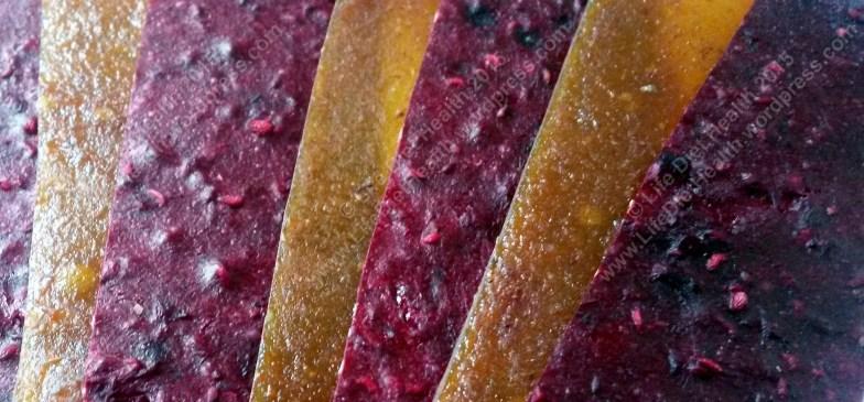 Gorgeous coloured fruit leathers!