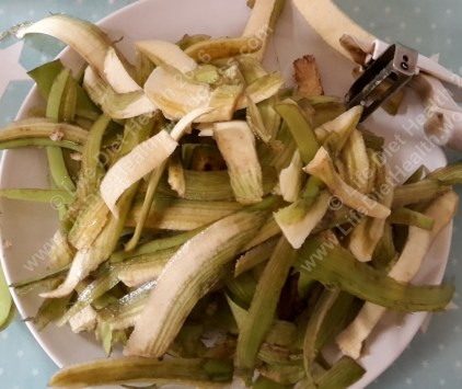 Green banana skins - I found using a vegetable peeler easiest!