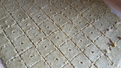 Roll the dough out thinly and cut into squares