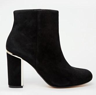 Otta Black Suede Gold Detail Block Heel Boots £115 Dune
