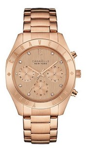 Caravelle New York Ladies Rose Gold Ip Chronograph Watch With Bracelet Strap, £130 Debenhams
