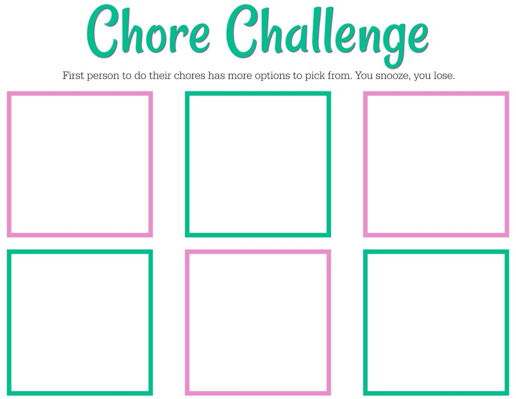 Free Printable Chore Chart For Teens