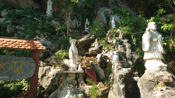 A marble statue garden - statues are placed on the mountain's slope