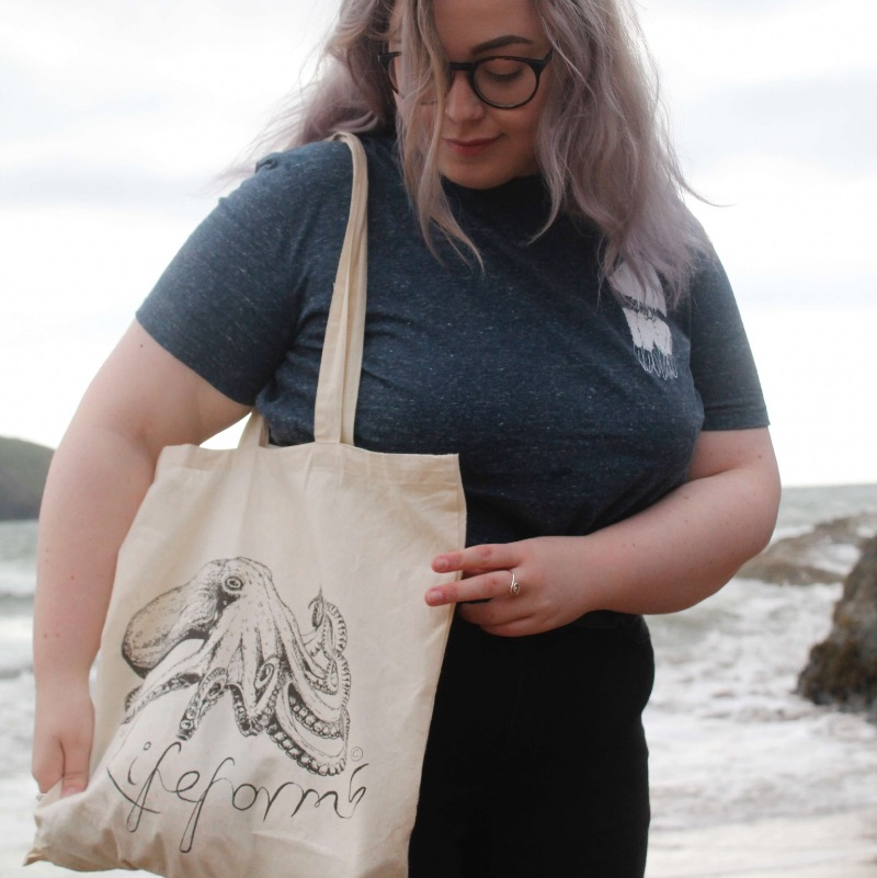 Curled Octopus Tote Bag