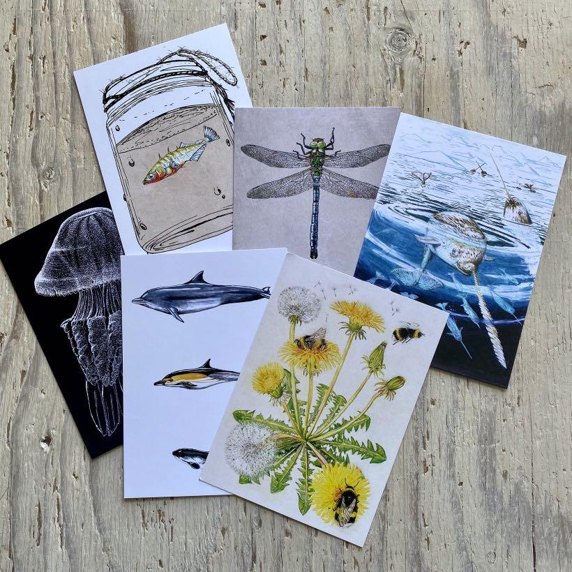 set of six art postcards