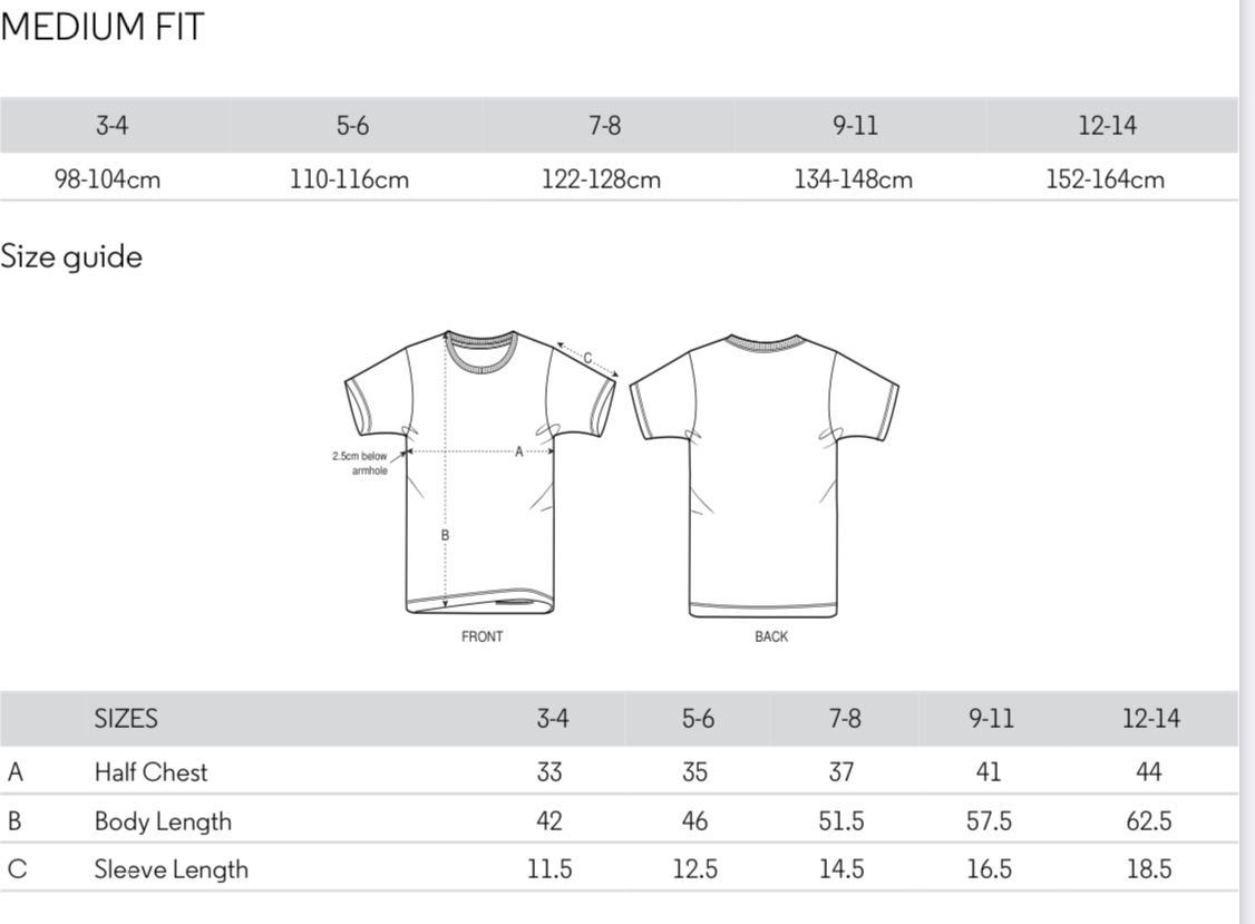 Children's T-shirts size chart