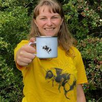 Bumblebee enamel mug