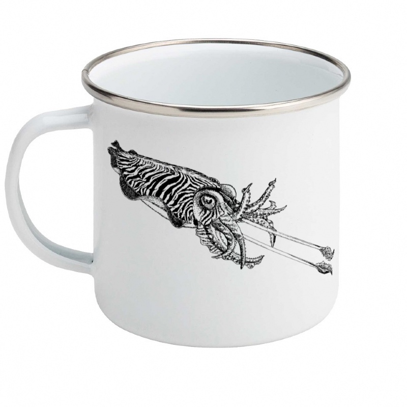 Common cuttlefish enamel mug