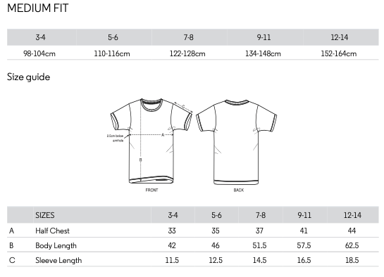 Children's t-shirt size guide