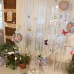 Easter tree with decorations and lanterns from the Dollar Tree and thrift stores