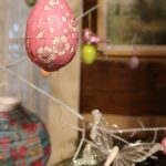 Mod Podge and origami paper decorated Easter egg with cherry blossoms