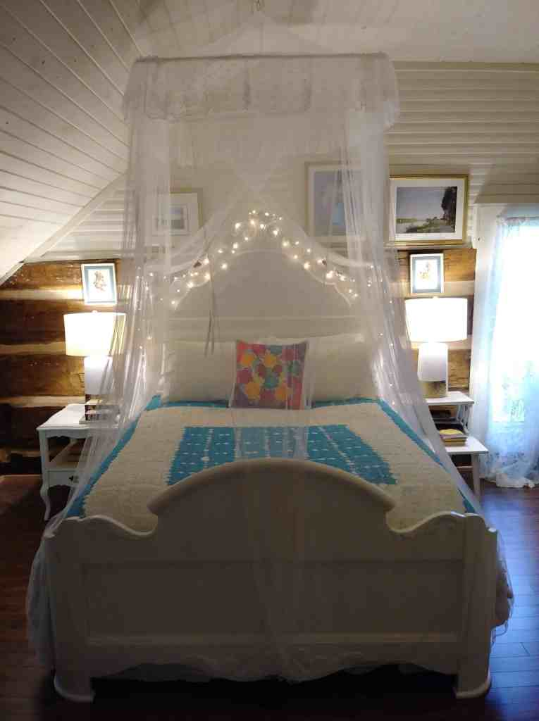 white bed frame with canopy and white lights