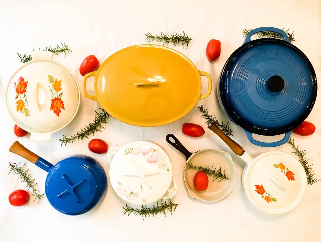 colorful cast iron enamel pans