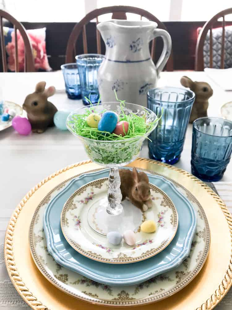 Easter Table Setting Life Full and Frugal tablescape with spring decor and a bunny place setting