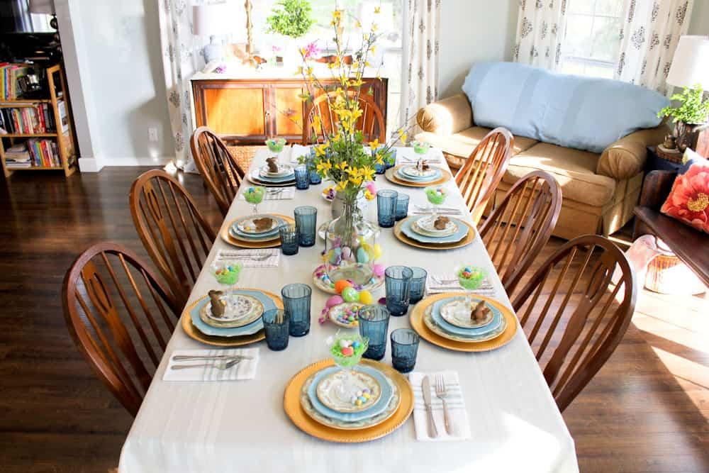 Easter Table Setting Life Full and Frugal sunny wide view of spring decorated table