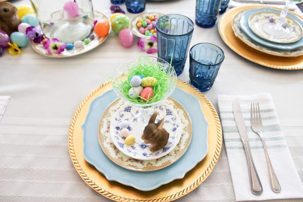 Easter Table Setting Life Full and Frugal view of place setting and blue glasses
