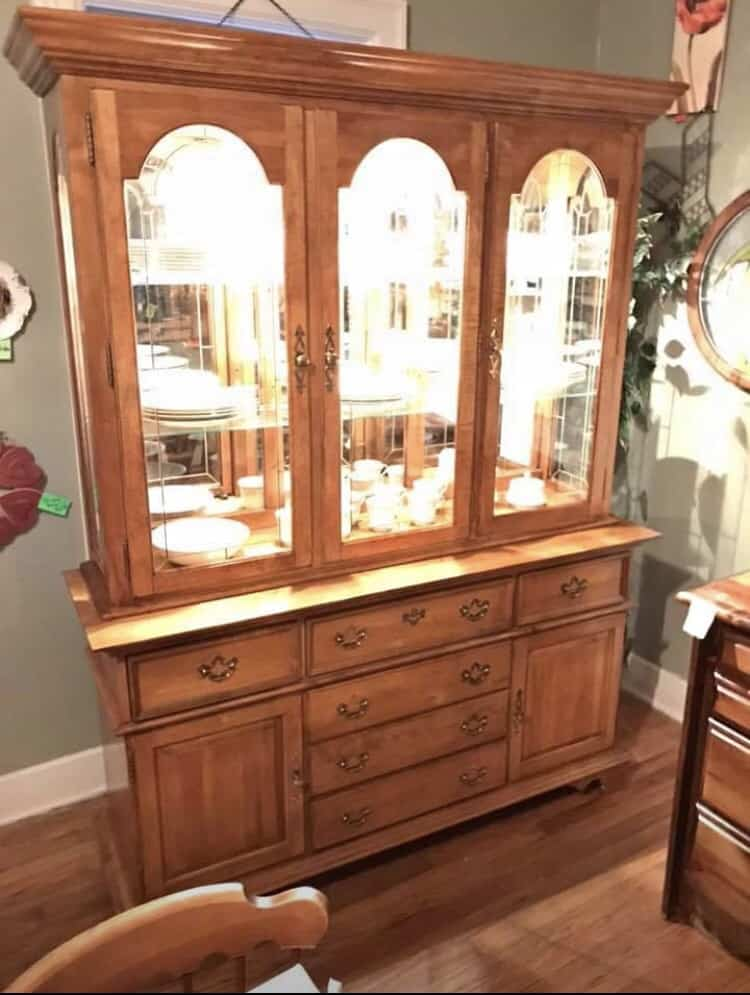 1980s china cabinet makeover before