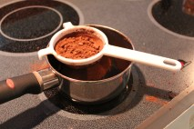 Use a mesh strainer to sift in your cocoa powder to avoid any clumps.