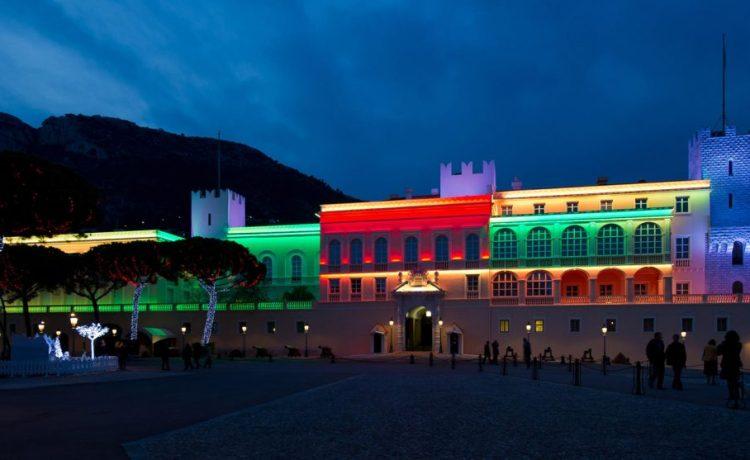 Новый год, иллюминация, Монако, дворец Монако, династия Гримальди
