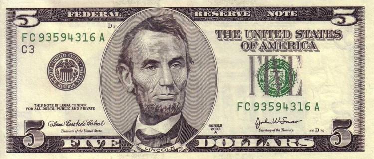 Портрет Линкольна  на купюре 5 долларов