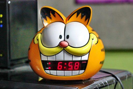 Часы, кот, будильник, утро, Гарфилд