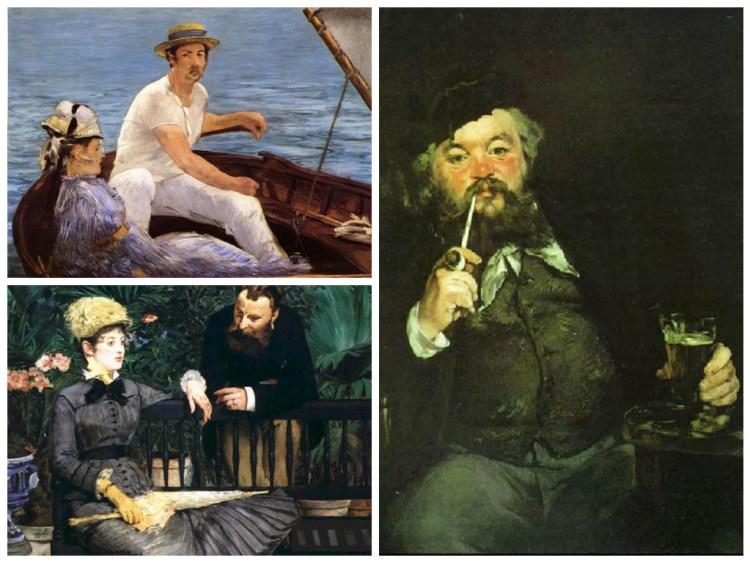 картины Эдуарда Мане, за кружкой пива, в лодке, в оранжерее