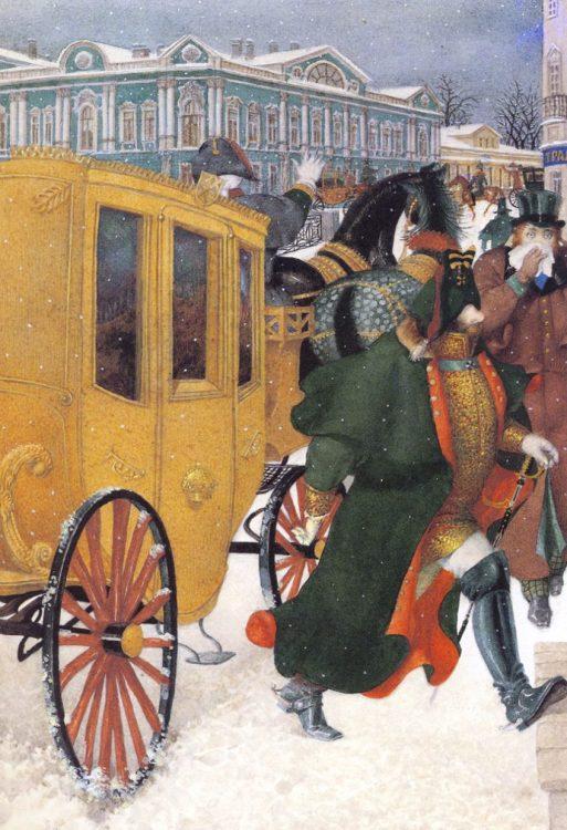 «Нос» Гоголя, карета, иллюстрация
