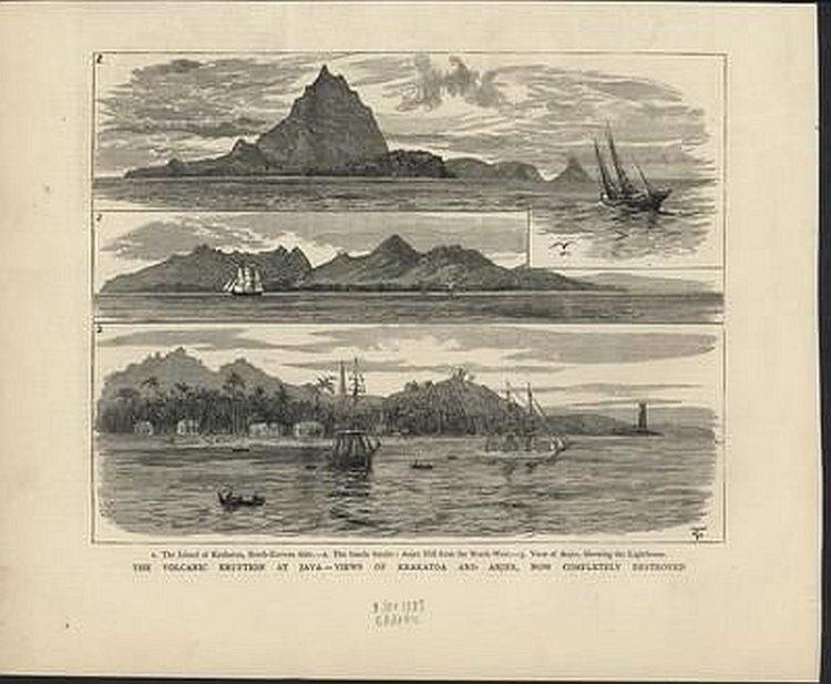 Кракатау, Извержения вулканов: