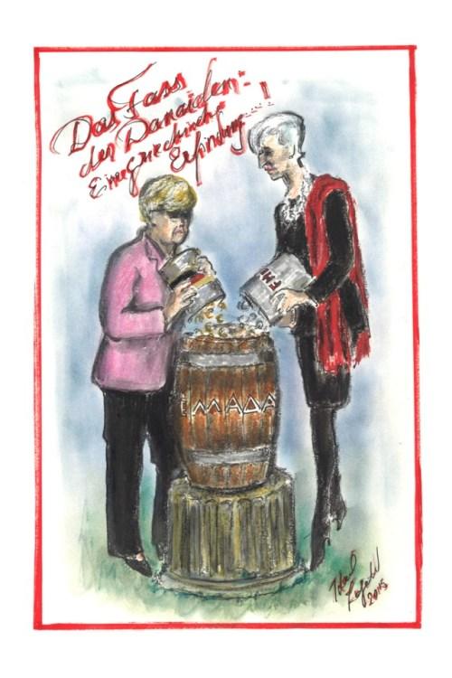 Карл Лагерфельд, карликатура, карикатура, Меркель, Греция, кризис
