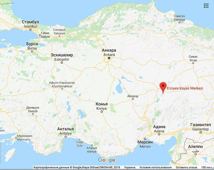 Турция, горнолыжный курорт в Турции, карта
