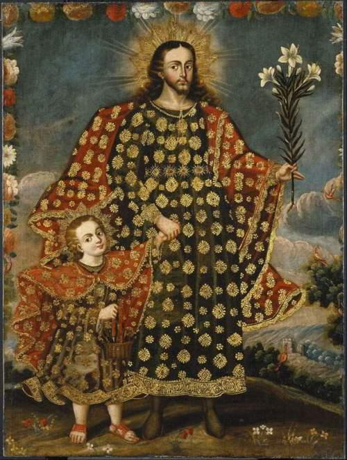 Святой Иосиф с Христом, Живопись, школа Куско Перу