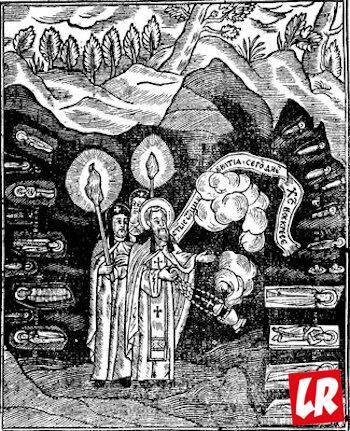 Илюстрация к «Слову о чуде на Пасху 1469 г.». Гравюра из Патерика, или Отечника, Печерского. К., 1661