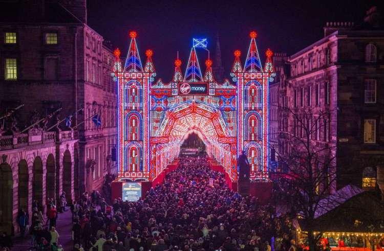 Рождественские ярмарки, Эдинбург, улица огней, иллюминация