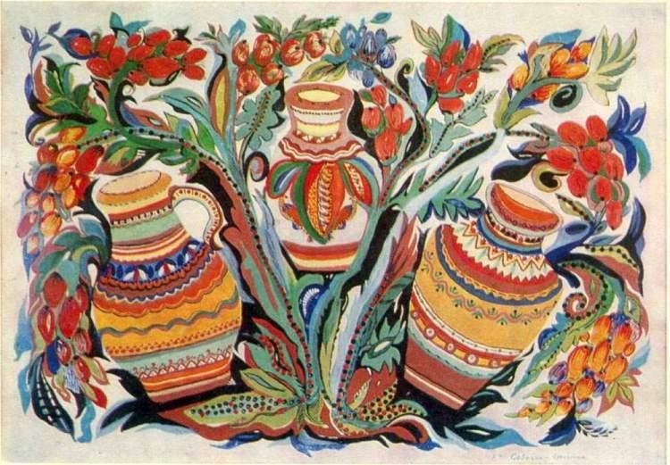 художница, Кувшинчики и виноград, Анна Собачко-Шостак, живопись, Украина, картины,