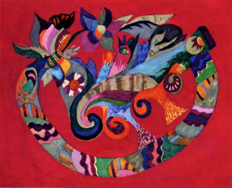 художница, В красном поле, Анна Собачко-Шостак, живопись, Украина, картины,