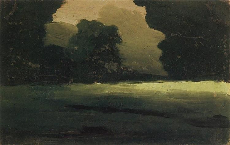 Куинджи, картины, Поляна в лесу. Туман