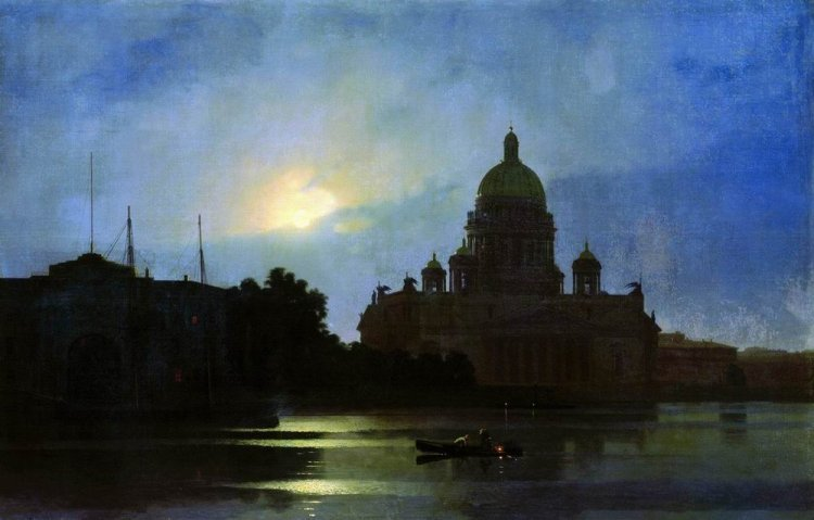 Куинджи, картины, Исаакиевский собор при луне