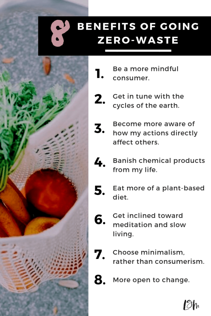 benefits of going zero waste: more minimalism, becoming a more mindful consumer, plant based-diet, and more. for even more benefits and how it changed my life, go to the blog post.