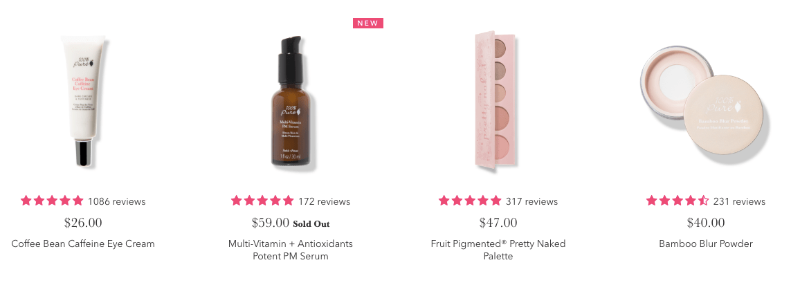 100 Percent Pure Natural Beauty Shop Best-Selling Products