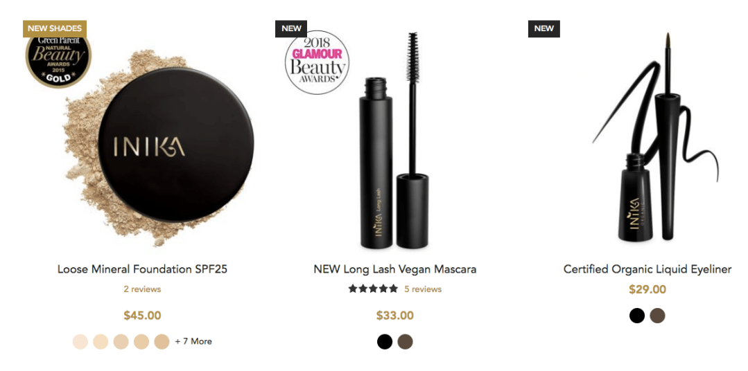 Best Sellers For Inika Organic Beauty Shop