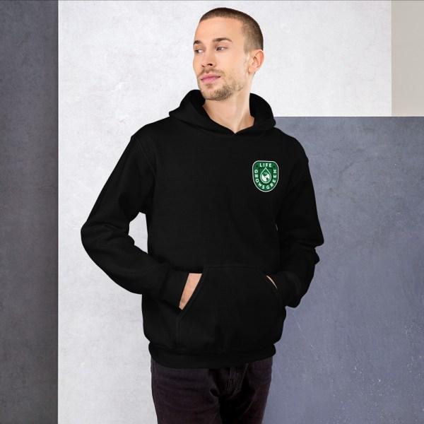 Black hooded sweatshirt with Life Grows Green badge logo.