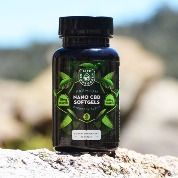 A bottle of CBD softgel capsules formulated for everyday.