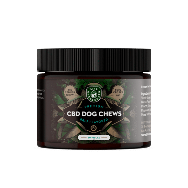 life grows green cbd dog treats with beef flavor