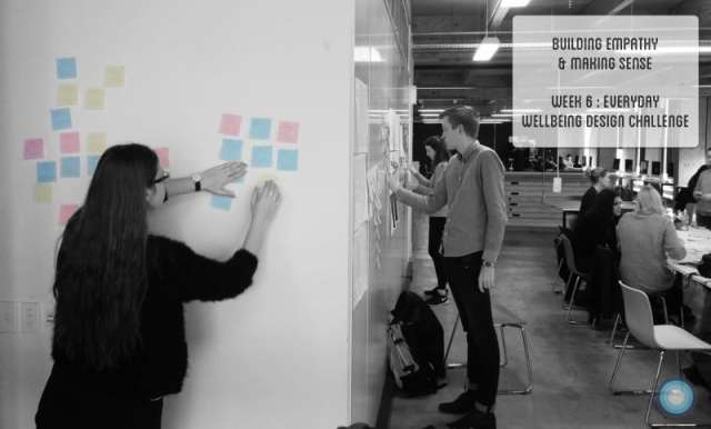 Students sort post it notes at Week 6 of the Everyday Wellbeing Design Challenge