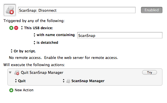 ScanSnap / Disconnect