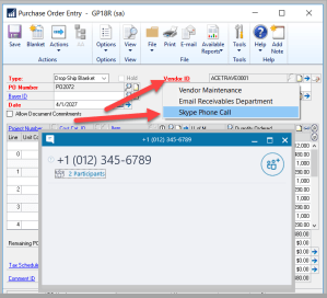 Custom Links – Using Skype for Business from within Dynamics GP