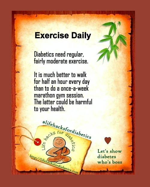 Exercise Daily #lifehacksfordiabetics