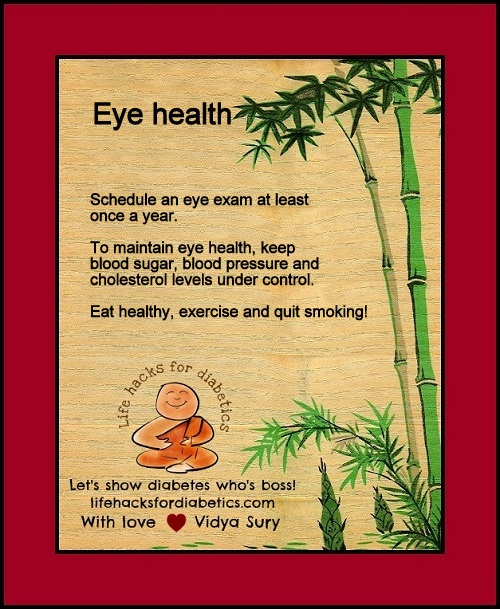 Eye health Life hacks for diabetics Vidya Sury