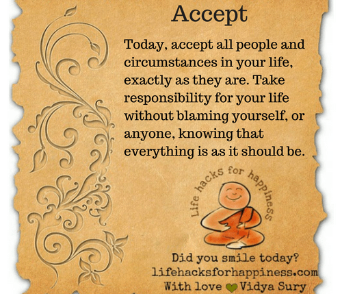Accept #lifehacksforhappiness